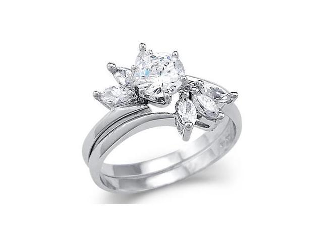 Solid 14k White Gold Solitaire CZ Cubic Zirconia Engagement Two Ring Set New 1.0 ct