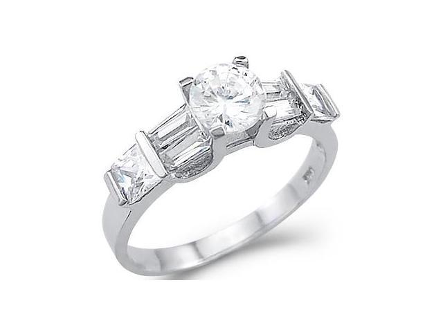 Solid 14k White Gold Solitaire CZ Cubic Zirconia Engagement Ring High Polish 1.5 ct