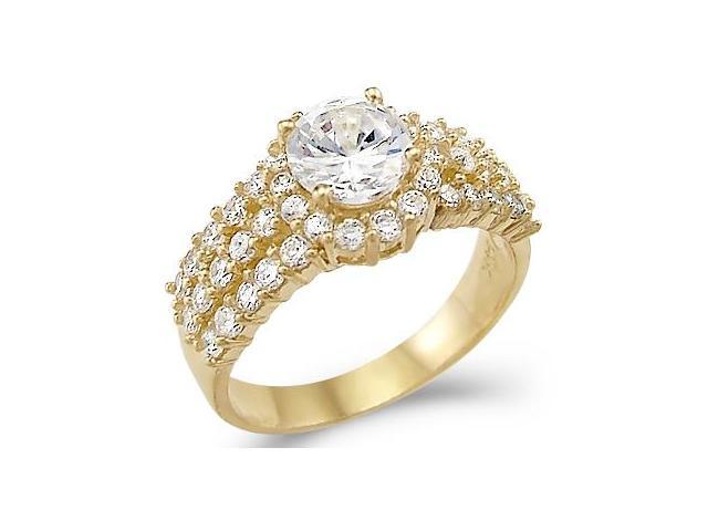 Solid 14k Yellow Gold Round Large CZ Cubic Zirconia Engagement Ring 3.0 ct.