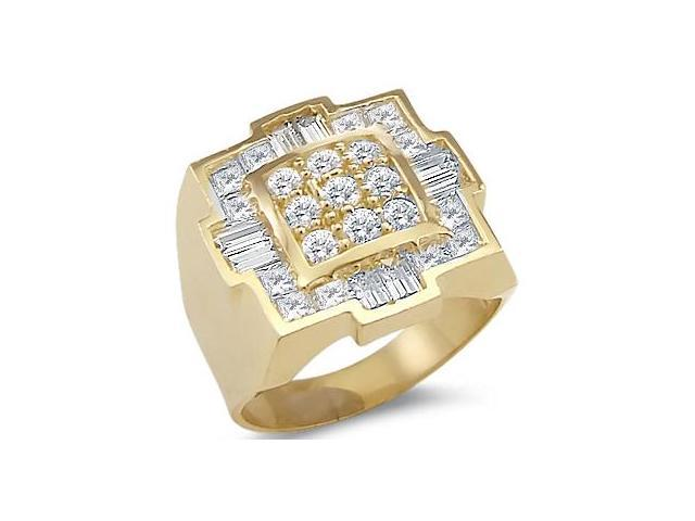 Solid 14k Yellow Gold Mens Huge Large Square CZ Cubic Zirconia Ring