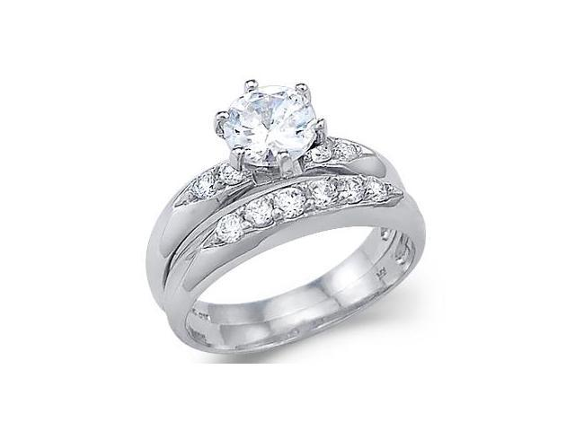 Solid 14k White Gold Solitaire Engagement Wedding Set CZ Cubic Zirconia Ring Round Cut 1.5 ct