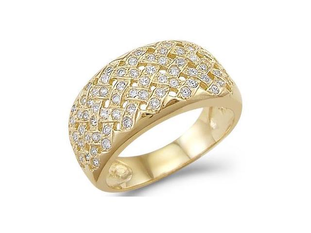 Solid 14k Yellow Gold Ladies CZ Cubic Zirconia Fashion Band Ring New Design