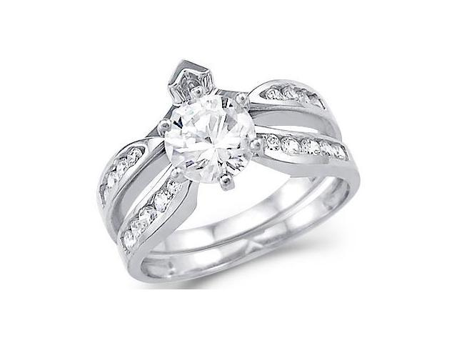 Solid 14k White Gold Round CZ Cubic Zirconia Engagement Wedding Two Ring Set 2.0 ct