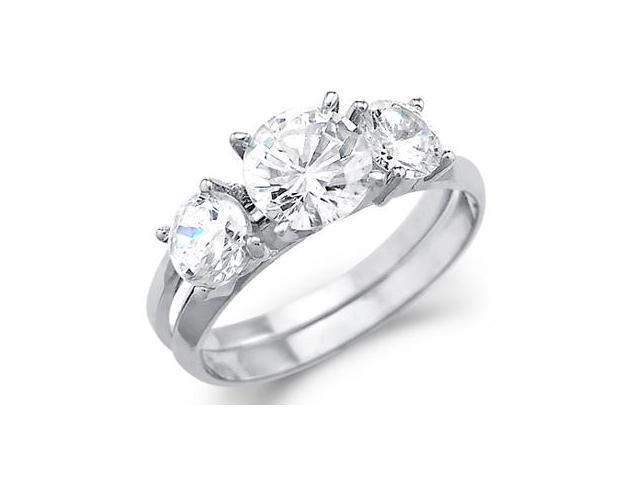 Solid 14k Gold Three 3 Stone Engagement Wedding Set CZ Cubic Zirconia Ring Round Cut 2.0 ct