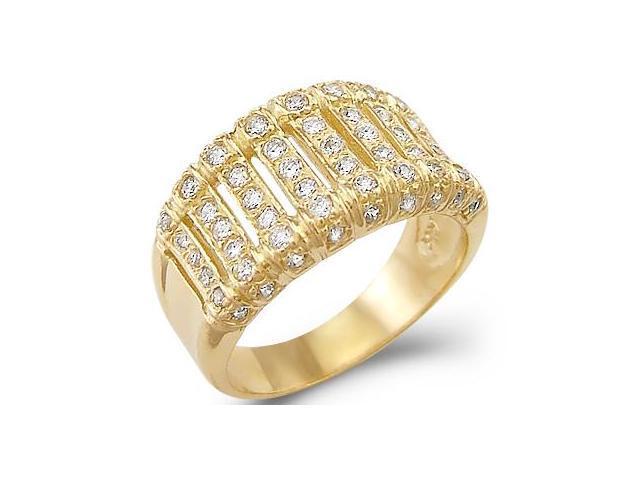 Solid 14k Yellow Gold Ladies CZ Cubic Zirconia Fashion Wedding Band Ring 1.0 ct