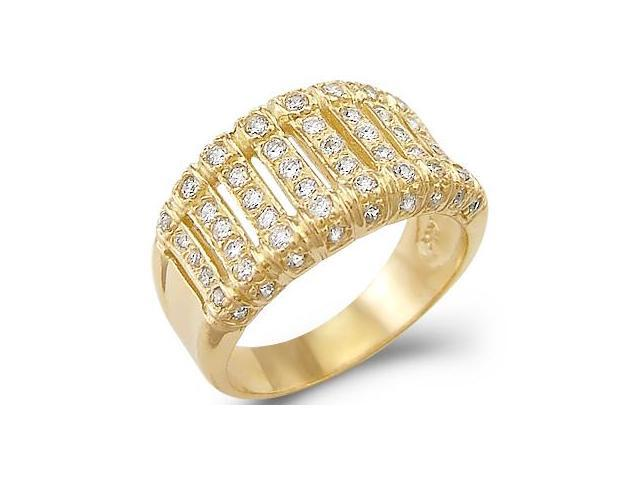 Solid 14k Yellow Gold Ladies CZ Cubic Zirconia Fashion Wedding Band Ring 1.0 ct