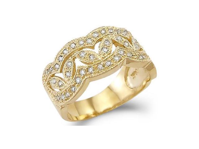 Solid 14k Yellow Gold Ladies CZ Cubic Zirconia Fashion Design Band Ring New