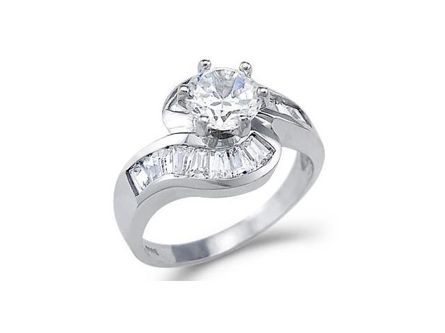 Solid 14k White Gold Large Solitaire CZ Cubic Zirconia Engagement Ring 2 ct.