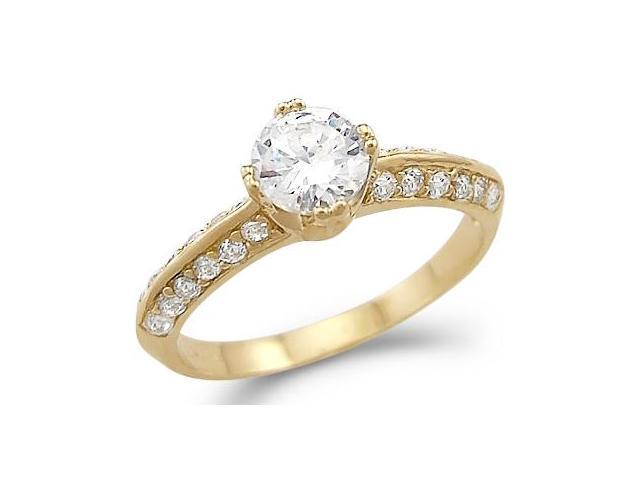 Solid 14k Yellow Gold Solitaire CZ Cubic Zirconia Wedding Engagemen Band New 1.0 ct