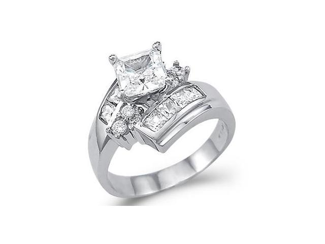 Solid 14k White Gold Large Princess Cut CZ Cubic Zirconia Engagement Ring 2.0 ct