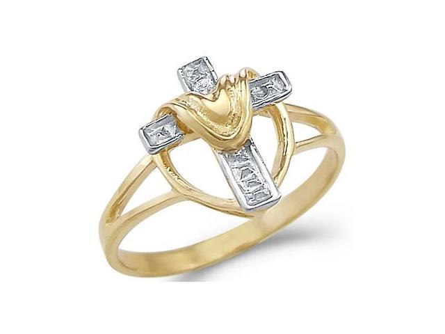 New 14k Yellow and White Gold Heart Draped Cross Ring