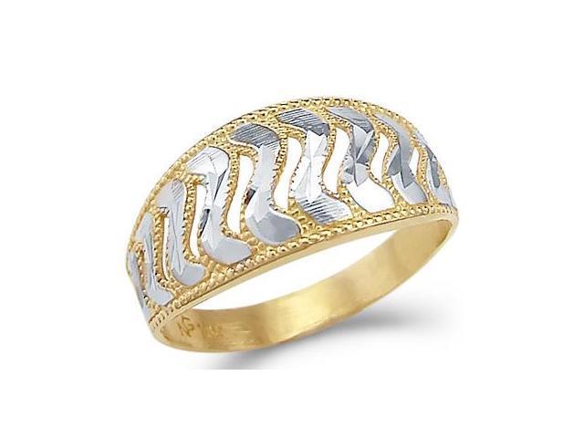14k Yellow and White Gold Two Tone Fashion Ladies Ring