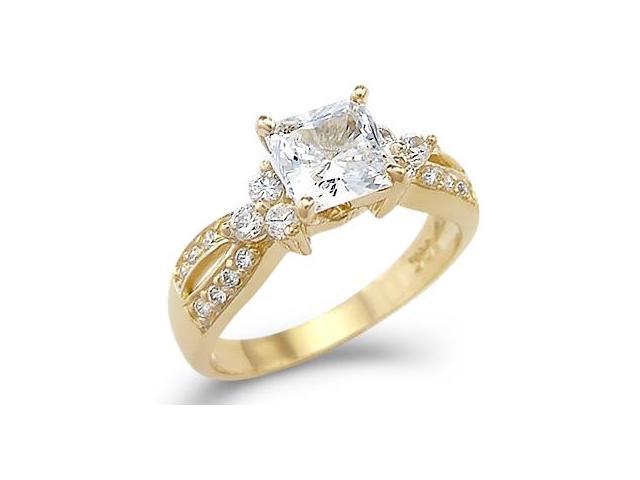 Solid 14k Yellow Gold Princess Cut CZ Cubic Zirconia Engagement Wedding Ring 1.5 ct
