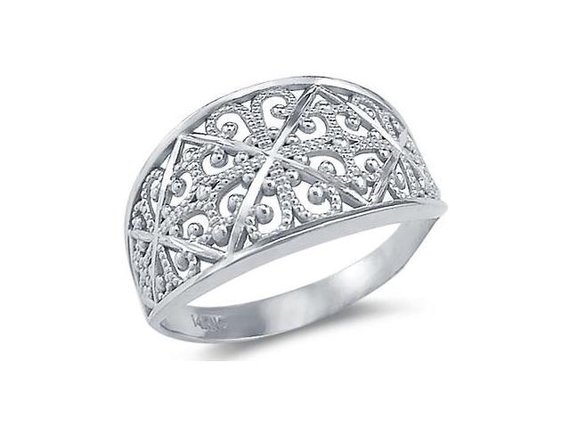 New Solid 14k White Gold Uninque Ladies Fashion Ring
