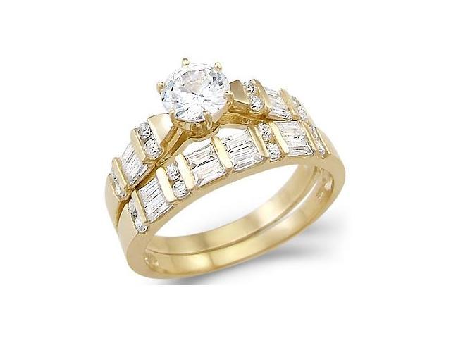 New Solid 14k Yellow Gold Solitaire CZ Cubic Zirconia Two Ring Wedding Set 2.0 ct