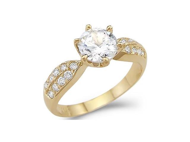 Solid 14k Yellow Gold Round Solitaire CZ Cubic Zirconia New Engagement Ring 1.5 ct
