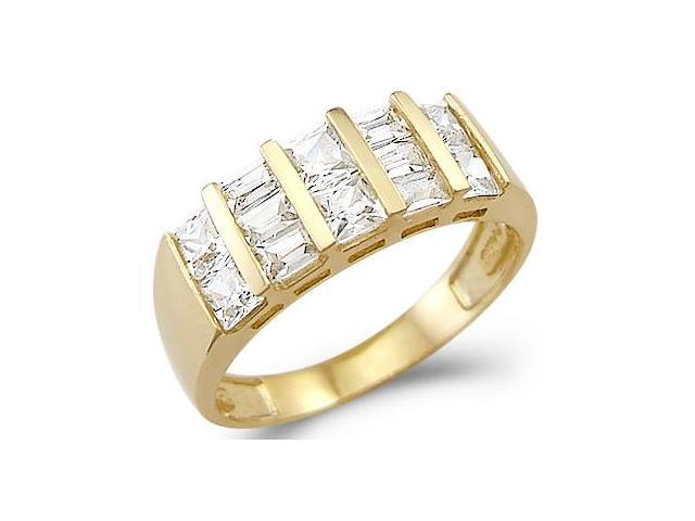 Solid 14k Yellow Gold Large CZ Cubic Zirconia Anniversary Fashion Band Ring