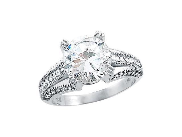 Solid 14k White Gold Round Cut Solitaire CZ Cubic Zirconia Engagement Ring 3.0 ct