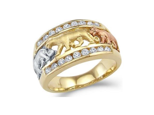 Solid 14k Tri-Color Gold Three Lion Cat Dog Animal Ring