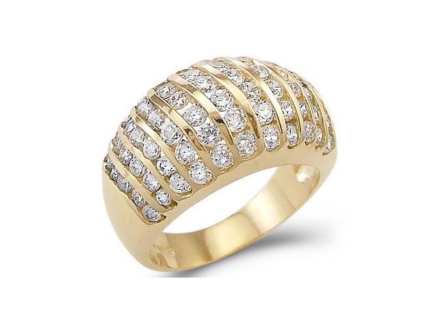 New Solid 14k Yellow Gold Ladies CZ Cubic Zirconia Wedding Anniversary Ring 2.5 ct