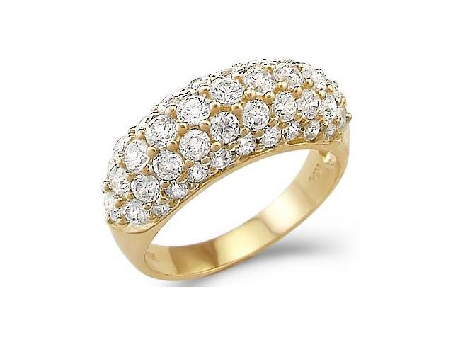 Solid 14k Yellow Gold CZ Cubic Zirconia Wedding Anniversary Band Ring New 2.5 ct