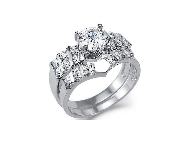 New Large Solid 14k White Gold CZ Cubic Zirconia Engagement Ring Wedding Set Round Cut 1.75 ct