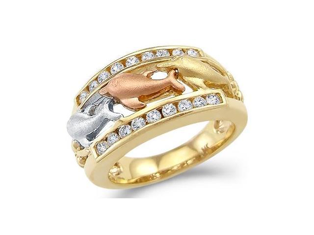 New Solid 14k Tri-Color Gold Three Dolphins Together CZ Cubic Zirconia Ring