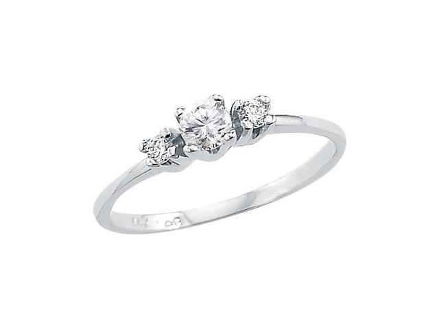 Solid 14k White Gold Three Stone Ladies CZ Cubic Zirconia Engagement Ring Round Cut 0.25 ct