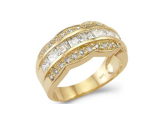 Solid 14k Yellow Gold Ladies CZ Cubic Zirconia Wedding Anniversary Band Ring 2.0 ct