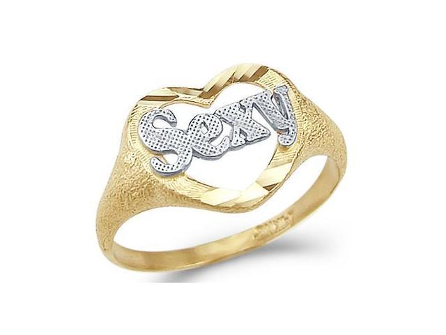 14k Yellow and White Gold Two Tone Heart Love Sexy Ring
