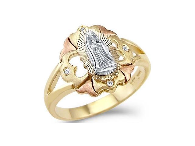 14k Tri-Color Gold Virgin Mary Lady Of Guadalupe Ring