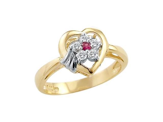 Solid 14k Yellow and White Gold Heart Flower Ladies CZ Cubic Zirconia Ring