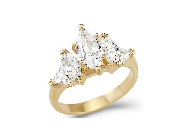 Solid 14k Yellow Gold Marquise CZ Cubic Zirconia Engagement Ring Big 4.0 ct