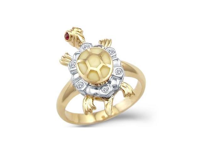 Solid 14k Yellow and White Two Tone Gold Turtle Motion CZ Cubic Zirconia Ring