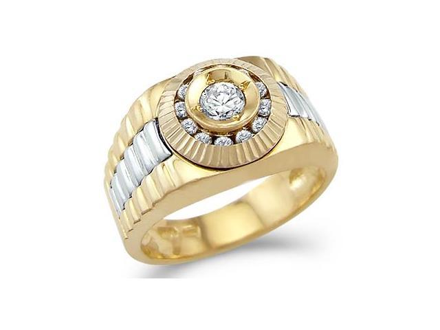 Solid 14k Yellow Gold Mens Watch Wedding Fashion CZ Cubic Zirconia Band Ring 0.5 ct