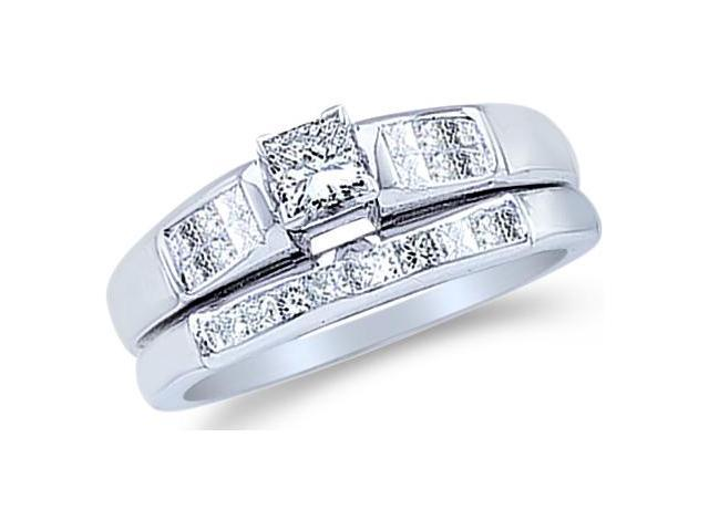 14k White Gold Diamond Ladies Engagement Ring Matching Wedding Band Two 2 Ring Set Solitaire Side Stones Princess Cut Diamond Ring  (.46 cttw, 0.16 ct Center, G - H Color, SI2 Clarity)
