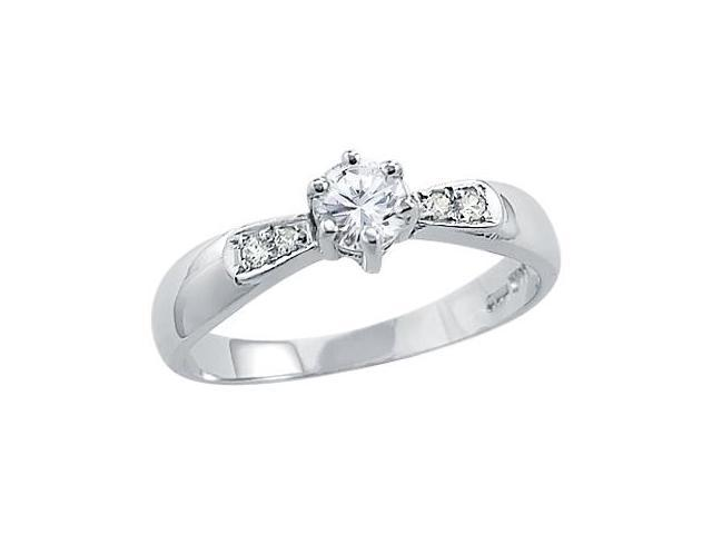 Solid 14k White Gold Womens Solitaire CZ Cubic Zirconia Engagement Ring Round Cut 0.5 ct