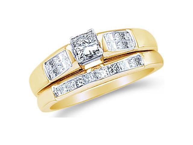 14k Yellow Gold Diamond Ladies Engagement Ring Matching Wedding Band Two 2 Ring Set Solitaire Side Stones Princess Cut Diamond Ring  (.46 cttw, 0.16 ct Center, G - H Color, SI2 Clarity)