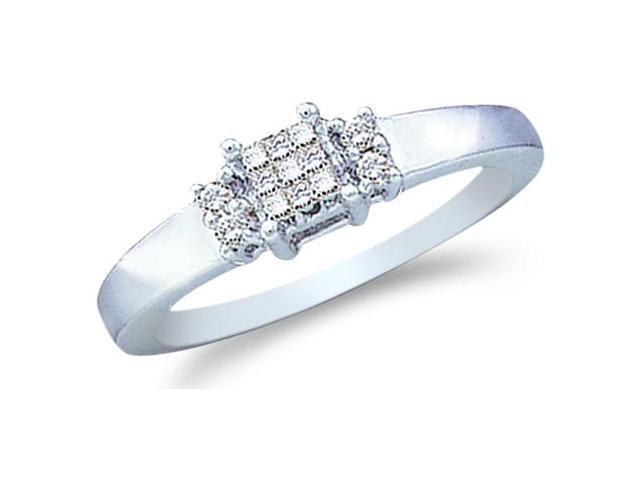 14k White Gold Diamond Engagement Anniversary Three 3 Stone Type Setting Channel Invisible Set Princess and Round Brilliant Cut Diamond Ring 5mm (.15 cttw, H Color, I1 Clarity)