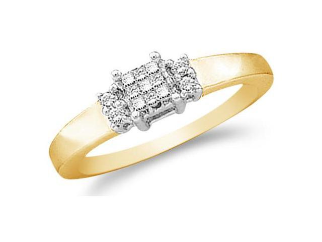 14k Yellow Gold Diamond Engagement Anniversary Three 3 Stone Type Setting Channel Invisible Set Princess and Round Brilliant Cut Diamond Ring 5mm (.15 cttw, H Color, I1 Clarity)