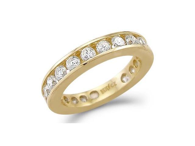Solid 14k Yellow Gold Eternity Channel Wedding CZ Cubic Zirconia Ring Band Size 5, 6, 7, or 8