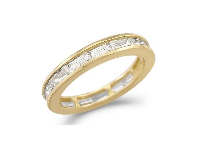 Solid 14k Yellow Gold Eternity Wedding Anniversary CZ Cubic Zirconia Band Size 5, 6, 7, or 8
