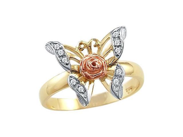 Solid 14k Yellow Rose Two Tone Gold Butterfly Flower CZ Cubic Zirconia Ring