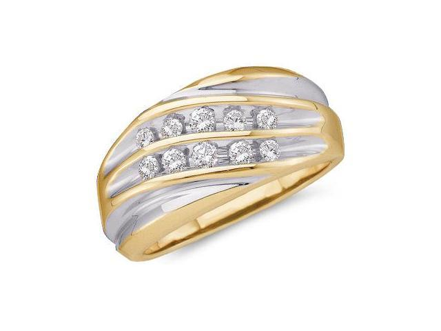 10k Yellow and White Two 2 Tone Gold Two Row Channel Set Round Cut Mens Diamond Wedding Ring Band 12mm (1/2 cttw, H Color, I1 Clarity)