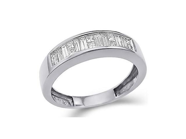 14k White Gold Princess Cut and Baguette Channel Set Diamond Ladies Womens Wedding or Anniversary 5mm Ring Band (1/2 cttw, G - H Color, SI2 Clarity)