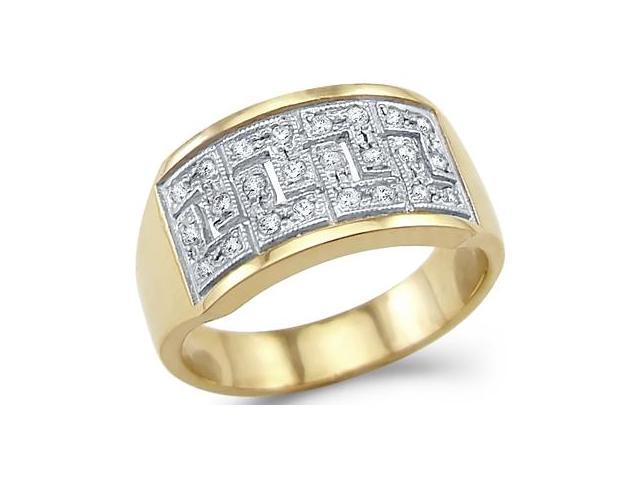 Solid 14k Yellow and White Gold Greek Design Ladies CZ Cubic Zirconia Ring