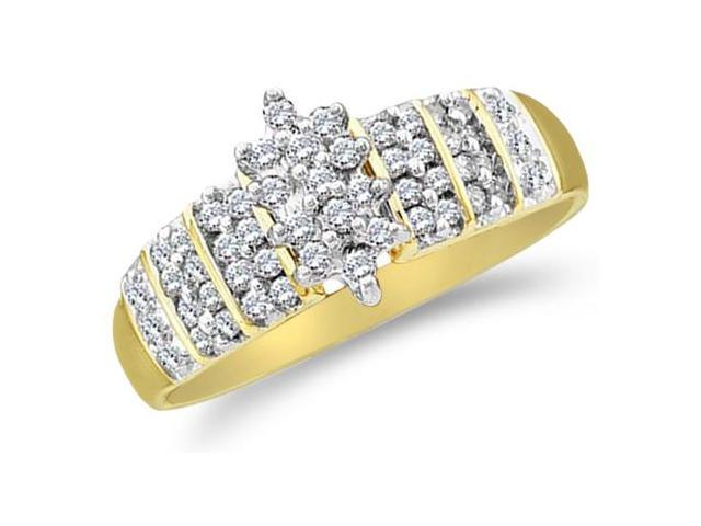 10k Yellow Gold Marquise Shape Cluster Round Cut Diamond Engagement Ring 8mm (1/4 cttw, H Color, I1 Clarity)