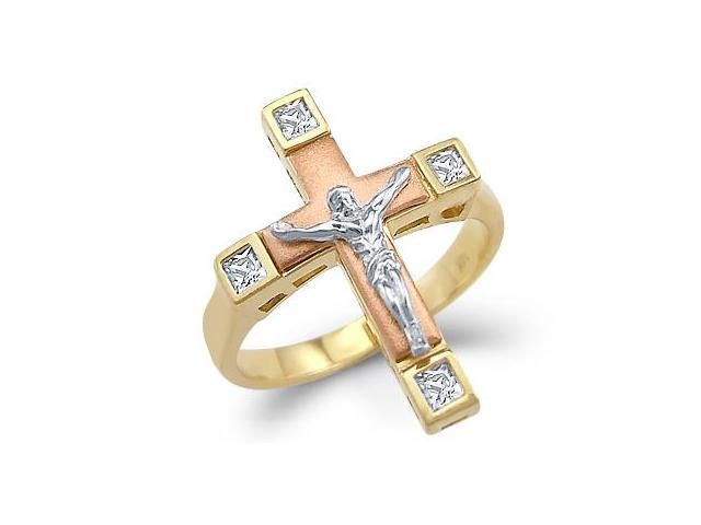 Ladies 14k Yellow Tri-Color Gold Cross Crucifix Ring