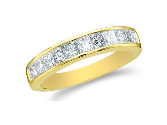 14k Yellow Gold Princess Cut Channel Set Diamond Ladies Womens Wedding or Anniversary 2mm Ring Band (1/4 cttw, G - H Color, I1 Clarity)