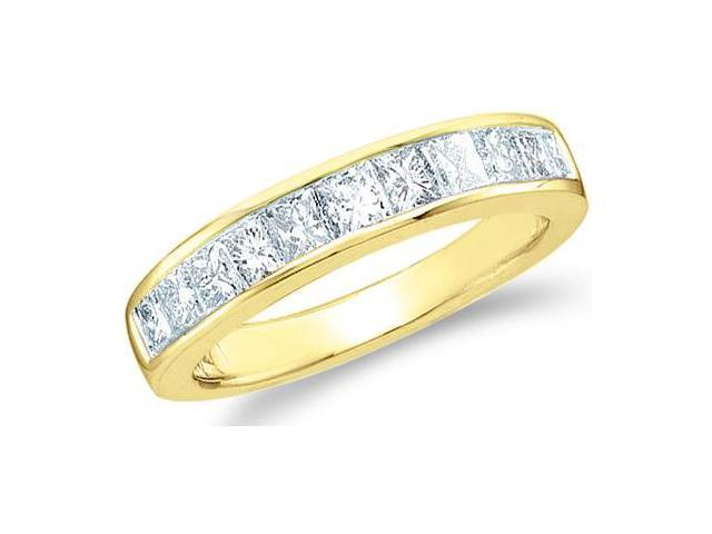 14k Yellow Gold Princess Cut Channel Set Eleven Diamond Ladies Womens 11 Stone Wedding or Anniversary 3mm Ring Band (1/2 cttw, G - H Color, I1 Clarity)
